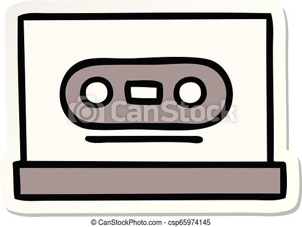 Una pegatina de una cinta retro de dibujos animados - csp65974145