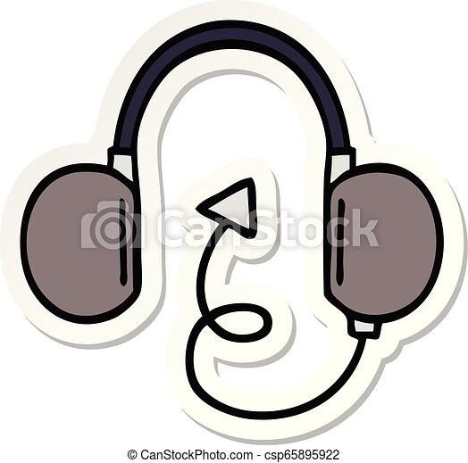 Pegatina de un lindo auricular retro de dibujos animados - csp65895922