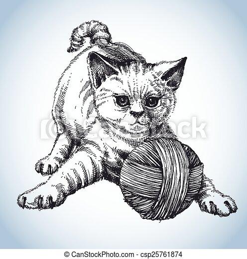 Un lindo gato jugando con una bola de lana - csp25761874