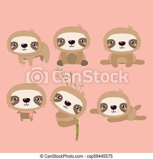 Lindos dibujos animados sonriendo perezosos personajes de animales perezosos. - csp59445575