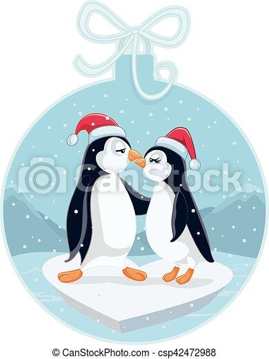 Lindo Pingüinos Cartooneps Vector Besar Navidad Divertido