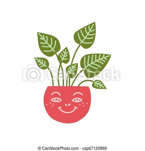Planta de la casa de Dieffenbachia creciendo en una olla bonita, elemento de diseño para ilustración de vectores de decoración interior natural - csp67120869