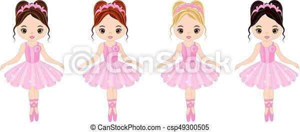 Lindo Poco Bailarinas Pelo Colores Vector Vario Rosa Lindo
