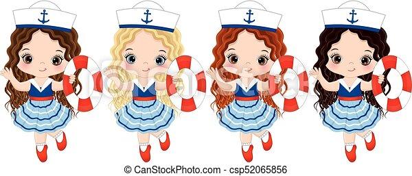 07d5fa713 lindo, poco, boyas, vestido, niñas, estilo, vector, náutico