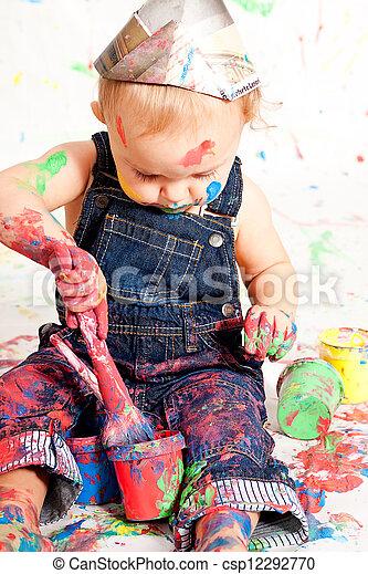 lindo, poco, colorido, creativo, pequeñín bebé - csp12292770