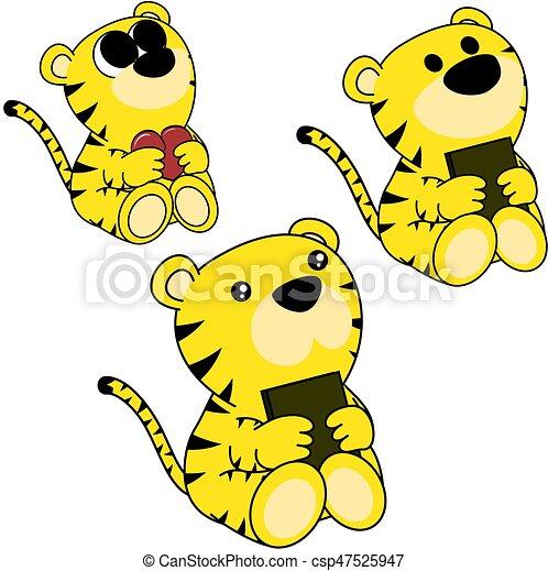 lindo, poco, conjunto, tigre, bebé, encantador, caricatura - csp47525947