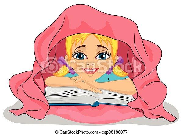 54e71e8ae lindo, poco, manta, cama, libro, debajo, lectura de la muchacha