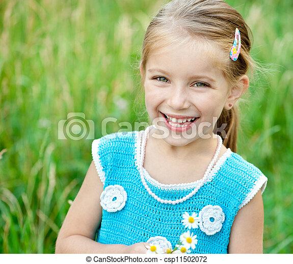 lindo, poco, pradera, niña - csp11502072