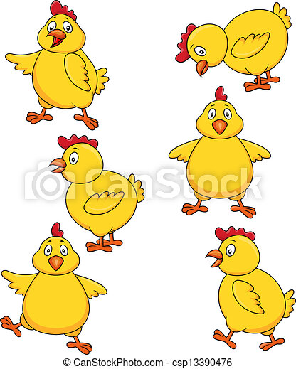 Lindo juego de dibujos de pollo - csp13390476