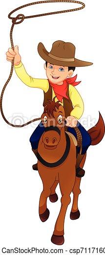 Lindo vaquero con pistola posando - csp71171609