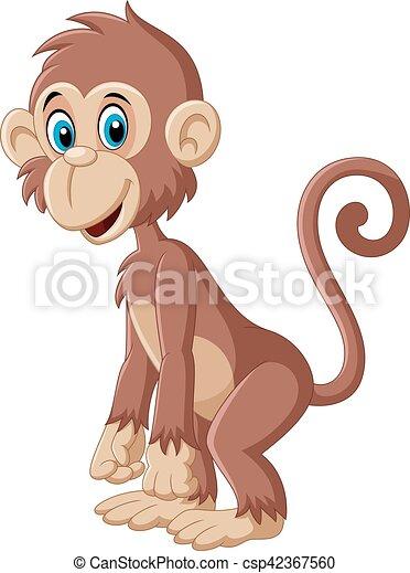 Un mono mono mono de dibujos animados posando - csp42367560