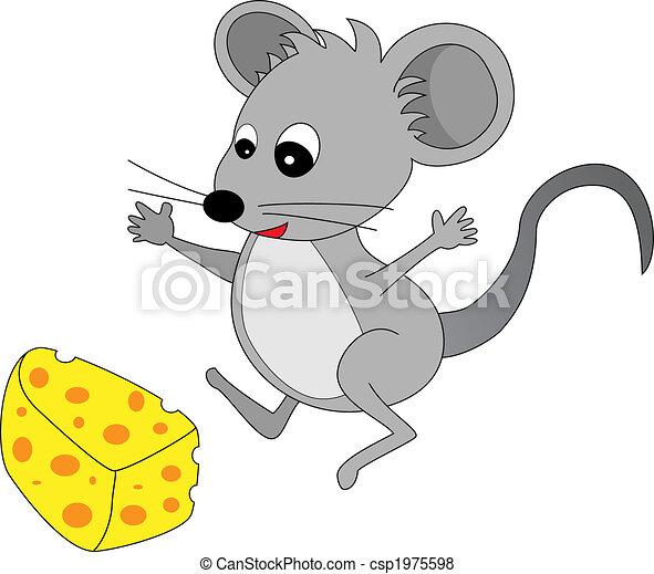Un alegre y lindo ratón de caricatura gris encontró algo de queso - csp1975598