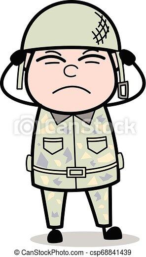 Ruido - lindo hombre del ejército dibujos animados de soldados vector ilustración - csp68841439