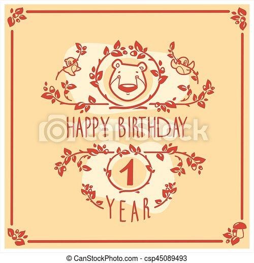 Vector Feliz tarjeta de cumpleaños con oso lindo. Diseño de invitación. - csp45089493