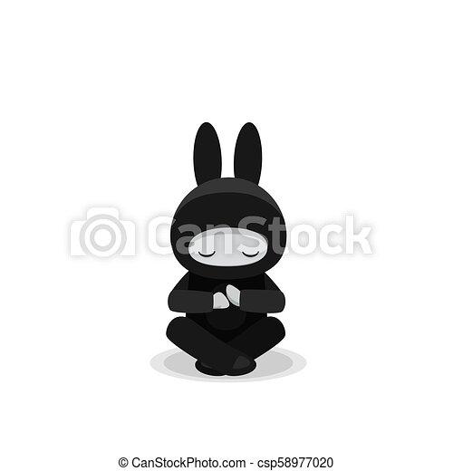 Sentado lindo conejito ninja aislado en el fondo blanco - csp58977020