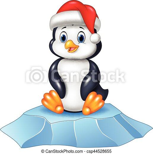 Lindo pingüino bebé sentado en témpano de hielo - csp44528655
