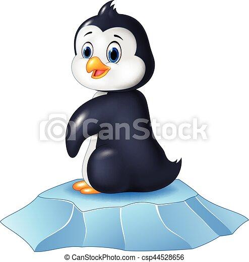 Lindo pingüino bebé sentado en témpano de hielo - csp44528656
