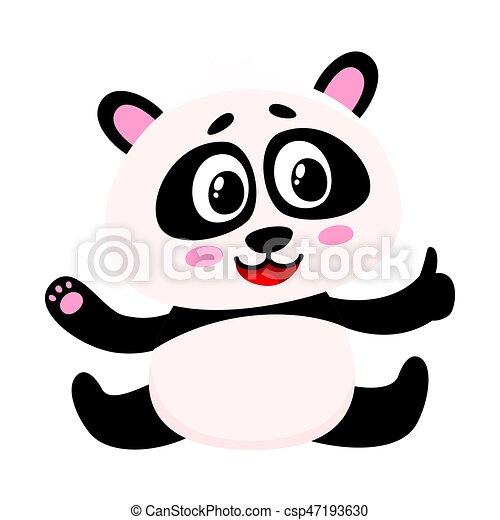 Un lindo bebé panda sonriente sentado, mostrando el pulgar hacia arriba - csp47193630
