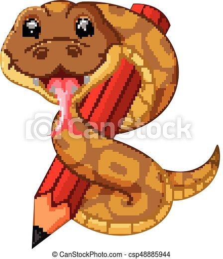Bonita serpiente sosteniendo lápiz - csp48885944