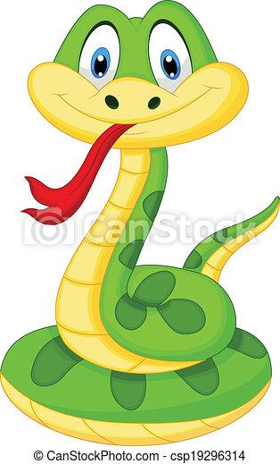 Lindo dibujo de serpiente verde - csp19296314