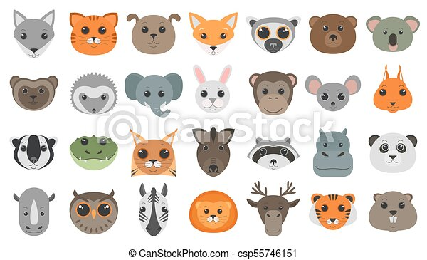 Lindas cabezas de animales de dibujos animados. - csp55746151