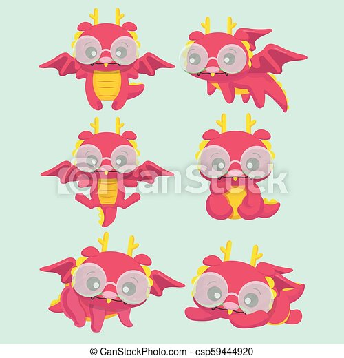 Lindos dragones de dibujos animados. - csp59444920