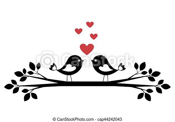 Silhouette lindas aves enamoradas - csp44242043