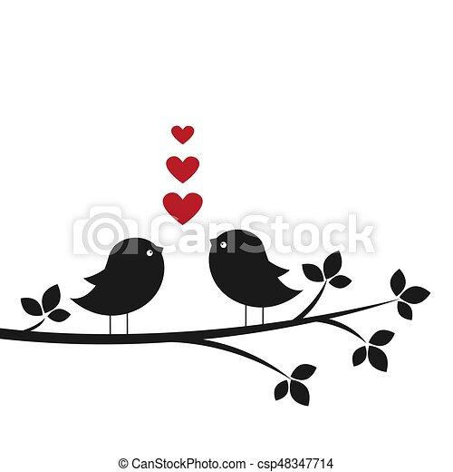 Silhouettes lindas aves enamoradas - csp48347714