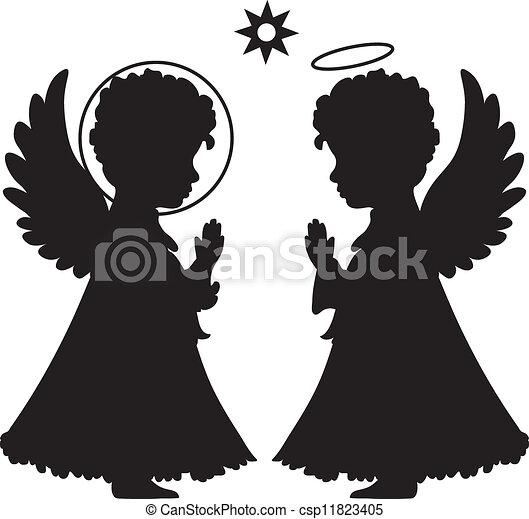 lindo, siluetas, conjunto, ángeles - csp11823405