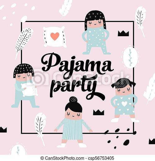 Diseño Infantil Con Chicas Lindas En Pijama Niños De Origen