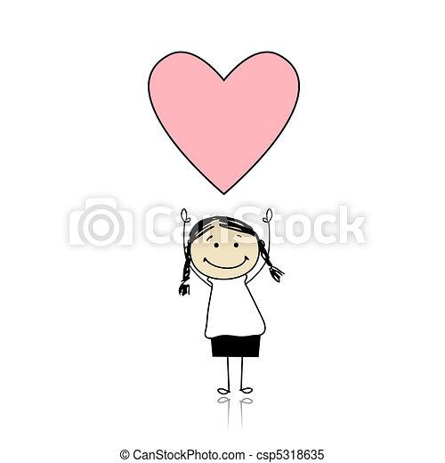 Día de San Valentín - chica linda sosteniendo el corazón - csp5318635