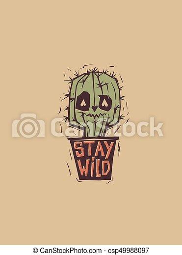 Cactus Lindos Y Raros Creciendo En Hierba Con Frase