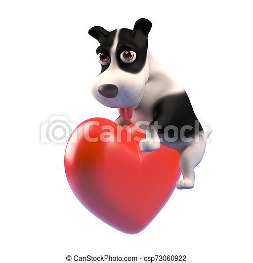 Un cachorro de 3D se siente romántico y abraza un corazón rojo, ilustración 3D - csp73060922