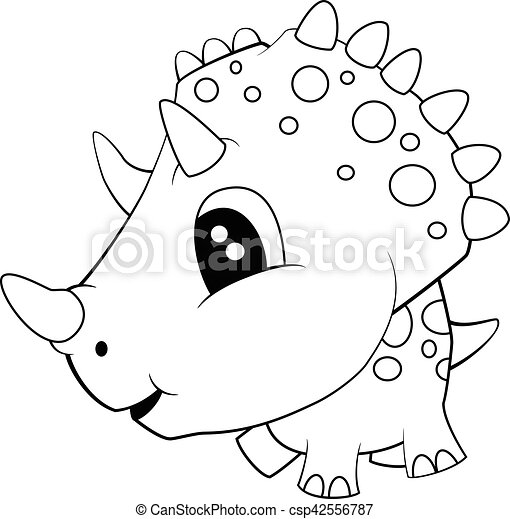 Lindo Dibujo En Blanco Y Negro De Dinosaurio Bebe Triceratops Ilustracion De Lindos Dibujos En Blanco Y Negro De Dinosaurio Canstock Telas por metros blanco, negro, dinosaurio, luciérnaga, geek, stegosaurus. lindo dibujo en blanco y negro de