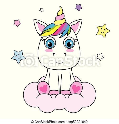 Lindo unicornio de dibujos animados sentado en una nube - csp53221042
