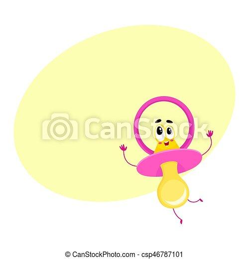 Lindo y gracioso muñeco bebé, personaje chupete con cara humana - csp46787101