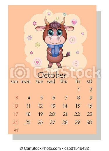 lindo, vaca, 2021., toro, october., calendario - csp81546432