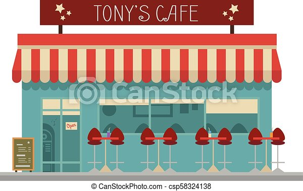 ¿Linda ilustración de vectores de dibujos animados de un café? - csp58324138