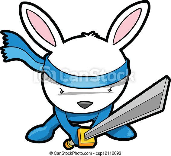 Lindo conejito ninja vector - csp12112693