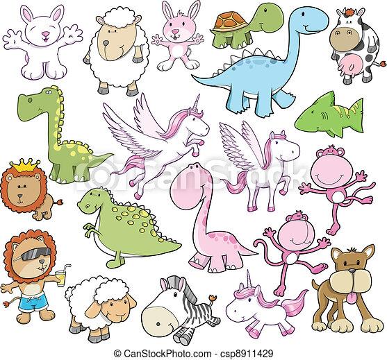 Bonita ilustración de vectores de animales - csp8911429