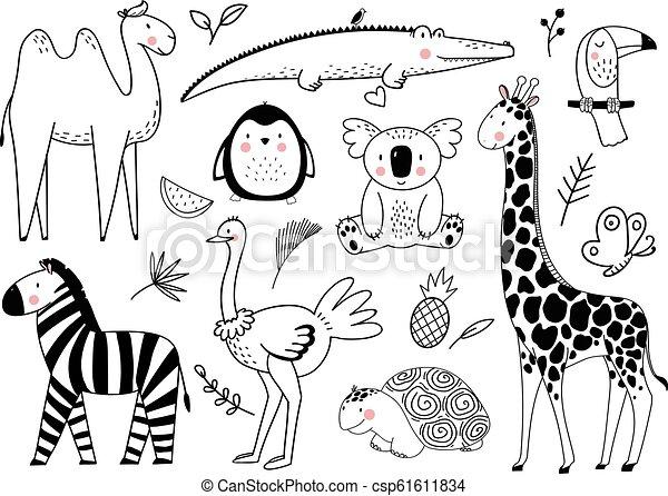 Vector lindo juego de animales - csp61611834