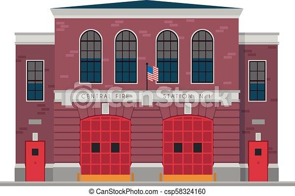 Linda ilustración de vectores de dibujos animados de una estación de bomberos - csp58324160