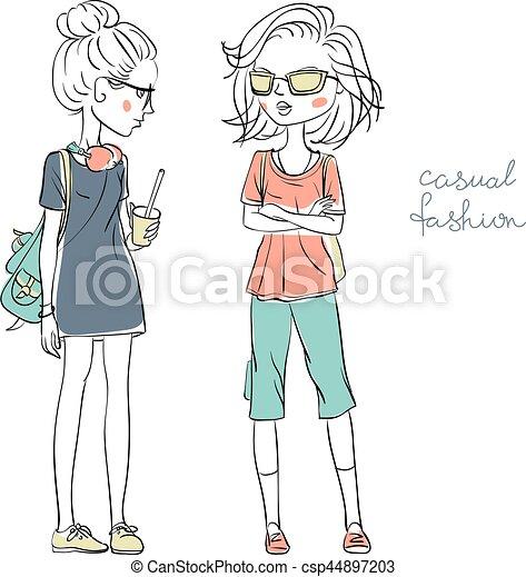 Vector chicas lindas de moda - csp44897203