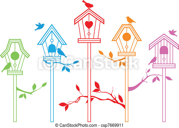 Bonitas casas de pájaros, vector - csp7669911