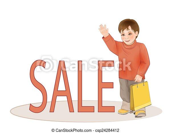 Lindo chico con bolsa de papel. Venta de ropa infantil. - csp24284412