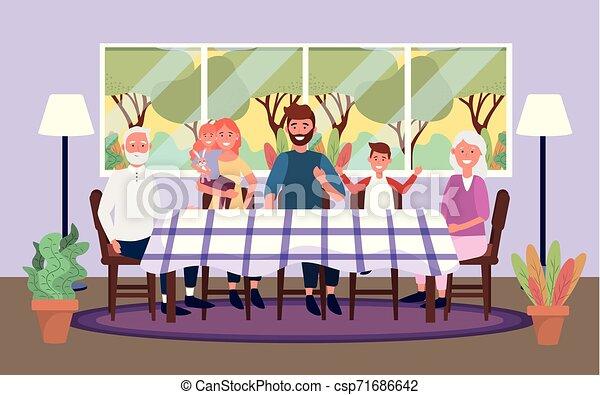 Linda familia junta en la mesa con ventana - csp71686642