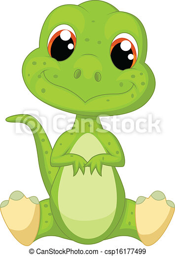 Lindo dibujo de dinosaurio verde - csp16177499