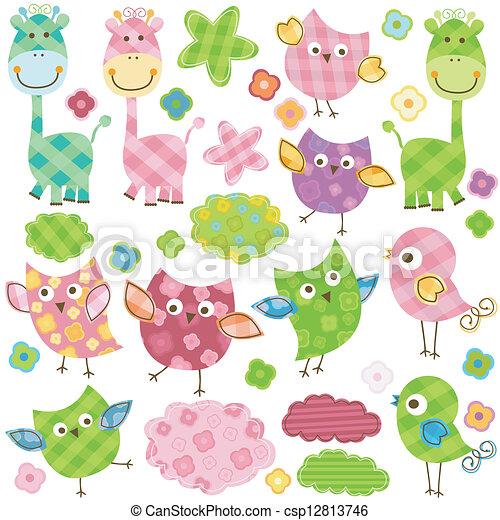 Pájaros lindos y jirafas - csp12813746