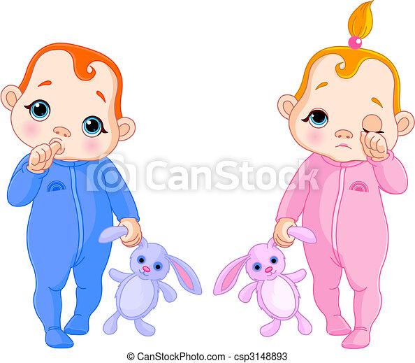 Lindos bebés van a dormir - csp3148893