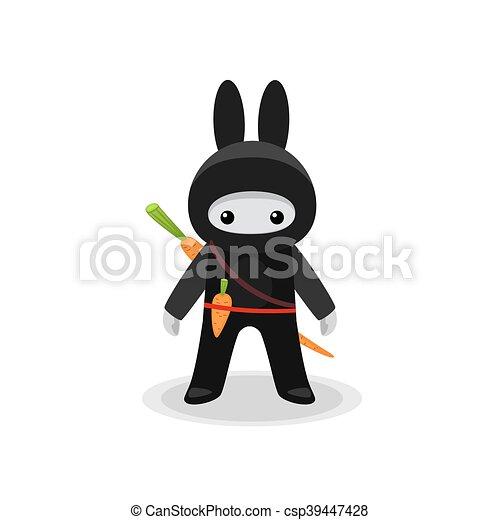 Lindo conejito ninja con zanahoria - csp39447428